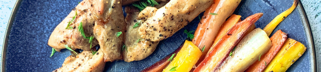 Pan chicken with vegetables served on a plate