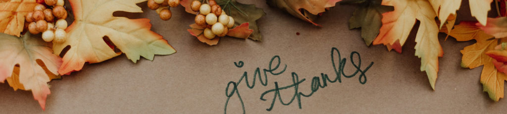 Leaves and pinecones on table saying Give Thanks