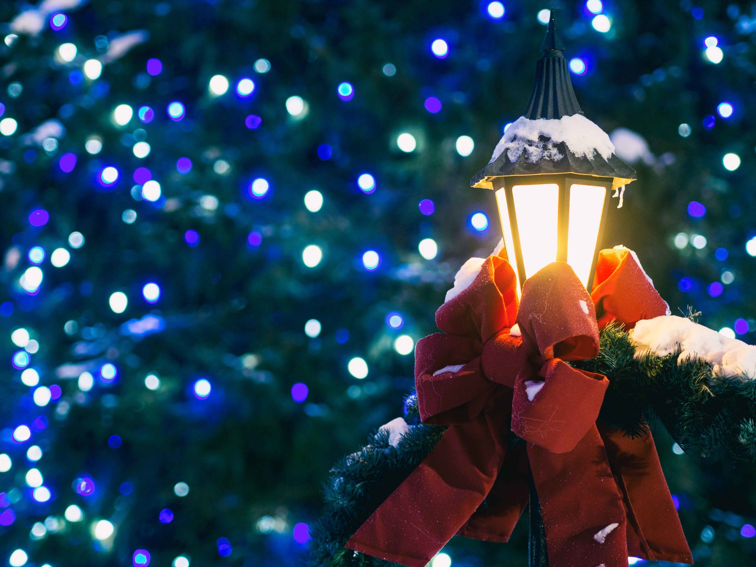 Night time lantern with holiday decorations